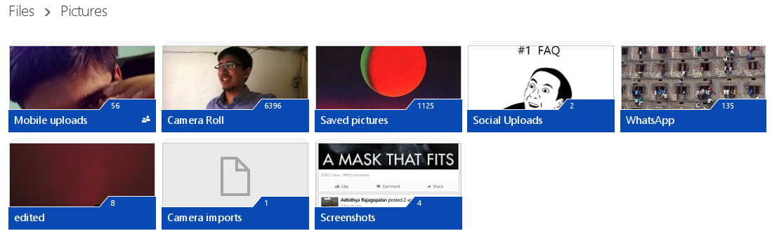 OneDrive Screen shot of Pictures Folder